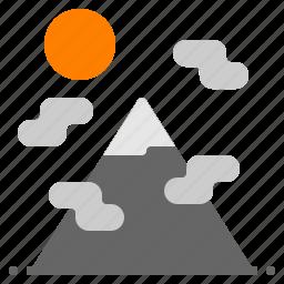 cloud, landscape, mountain, nature, sun icon