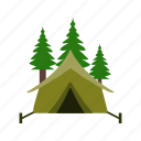 camp, tent, trees icon
