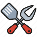 cutlery, fork, grill, kitchen, knife, spoon, tool icon