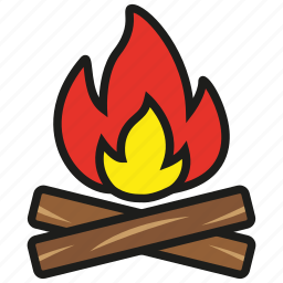 burn, camping, fire, flame, hot, light, wood icon