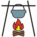 camping, cooking, eat, fire, food, gastronomy, kitchen icon
