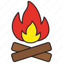 burn, camp, fire, flame, hot, light, wood icon