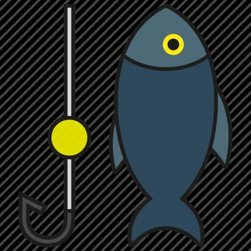 animal, fish, fishing, hook, ocean, sea, tuna icon