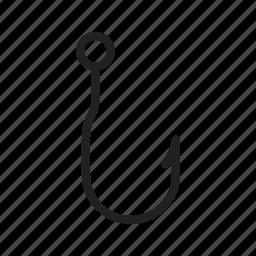 anchor, double, fishhook, fishing, hook, metal, shape icon