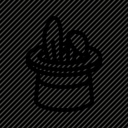 amusement, circus, focus, hat, magic, rabbit, trick icon