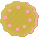 cookie, pink, strawberry icon