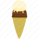 chocolate, ice cream, vanilla icon