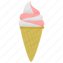 ice cream, strawberry, vanilla icon