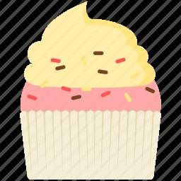 cupcake, strawberry, vanilla icon