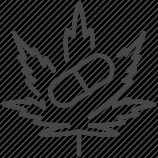 cannabidiol, cannabis, capsule, drug, hemp, medical, pills icon