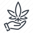 cannabinoids, cannabis, hand, harvest, hold, marijuana, marijuanas icon