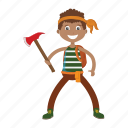 axe, islander, kid, lumberjack, pirate icon