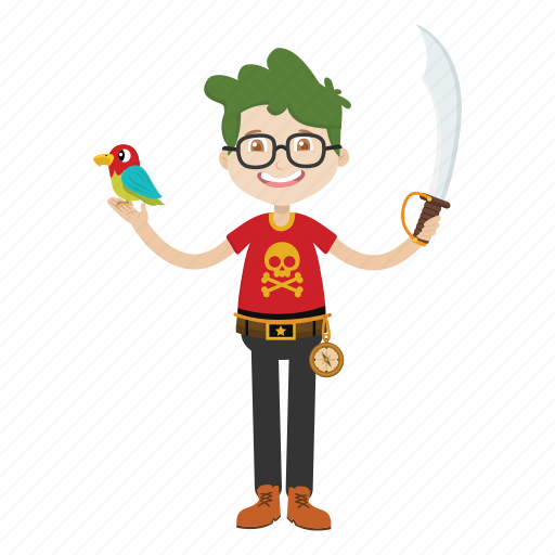 cartoon, character, islander, knife, pirate icon