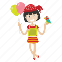 cartoon, balloon, avatar, girl, kid