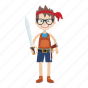 cartoon, character, islander, kid, nerd, pirate icon