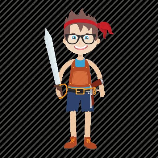 cartoon, character, islander, kid, nerd, pirate icon