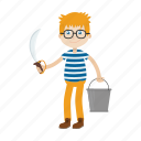cartoon, character, islander, kid, knife icon