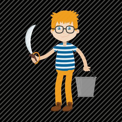 cartoon, character, islander, kid, knife icon