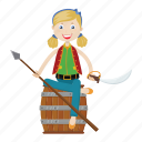 character, girl, islander, pirate, spear icon