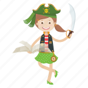 cartoon, girl, islander, kid, pirate icon