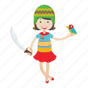 cartoon, character, girl, islander, kid, pirate icon