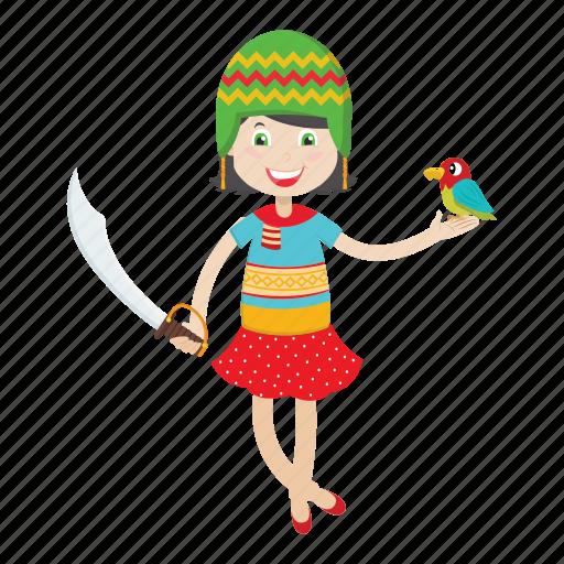 cartoon, character, girl, islander, kid, pirate icon