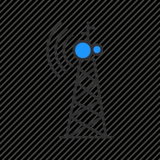 radio, satellite, signal, tower icon