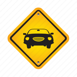 automobile, car, road, sign, traffic, vehicle icon