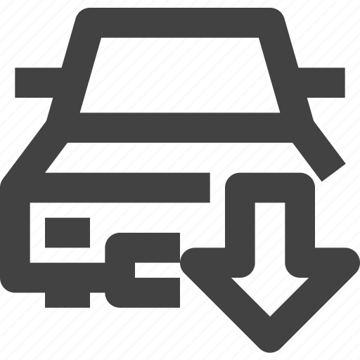 automobile, car, care, down, vehycle icon