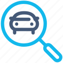 autos, car, glass, look, magnifying, search icon