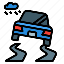 accident, car, rain, road, weather, wet icon