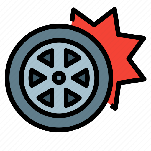 Accident, blowout, rubber, tire, vehicle, wheel icon - Download on Iconfinder
