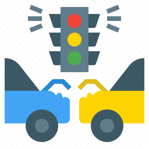 accident, crash, faulty, lights, street, traffic icon