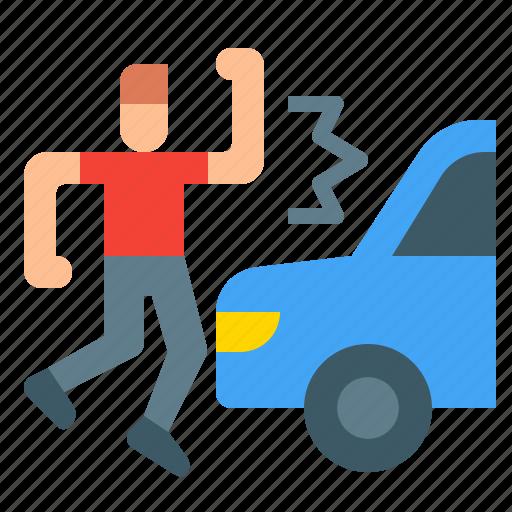 accident, car, crash, danger, pedestrian, road icon