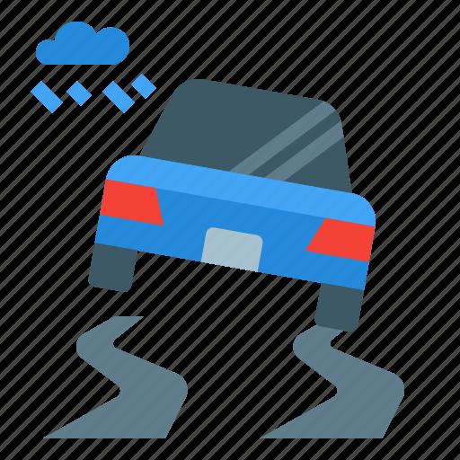 accident, car, rain, road, weather, wet icon