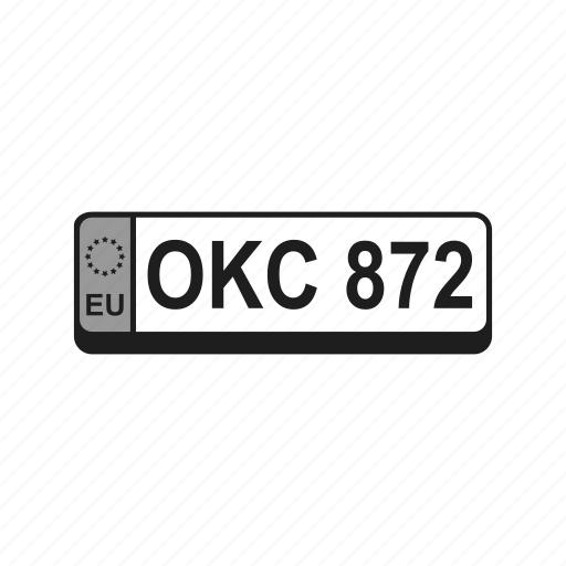 auto, car, european, licence, number, plate, registration icon