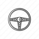 aftermarket, car, fast, race, retro, steering, wheel icon