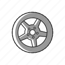 alluminum, car, rubber, tire, traction, tyre, wheel icon