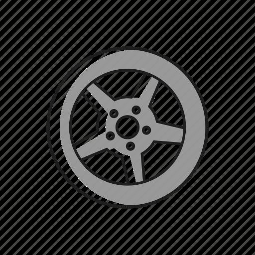 alluminum, car, rubber, tire, traction, tyre, wheel icon