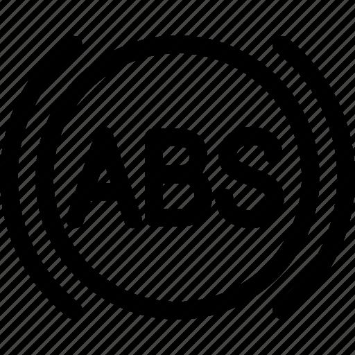 abs, antilock, brake, car, system icon