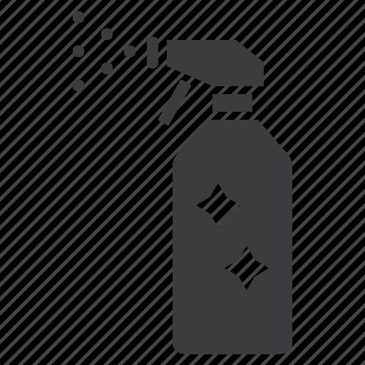 bottle, clean, maintenance, spray, sprinkle, windscreen, wipe icon