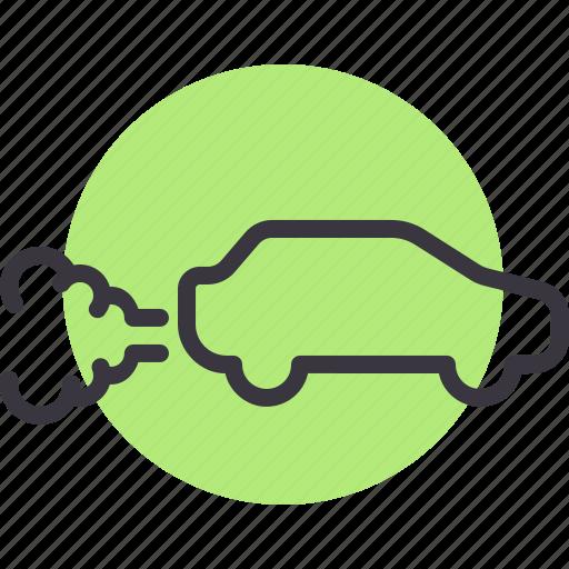 automobile, car, emission, gas, pollution, vehicle icon