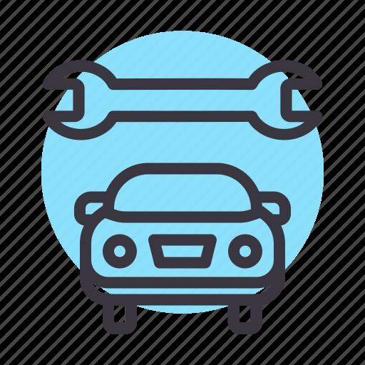 car, garage, maintenance, mechanic, repair, service, spanner icon