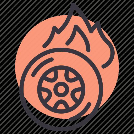 burnout, car, care, maintenance, service, tire, tyre icon