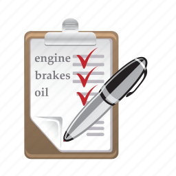 book, car, customer, pen, service, vehicle icon