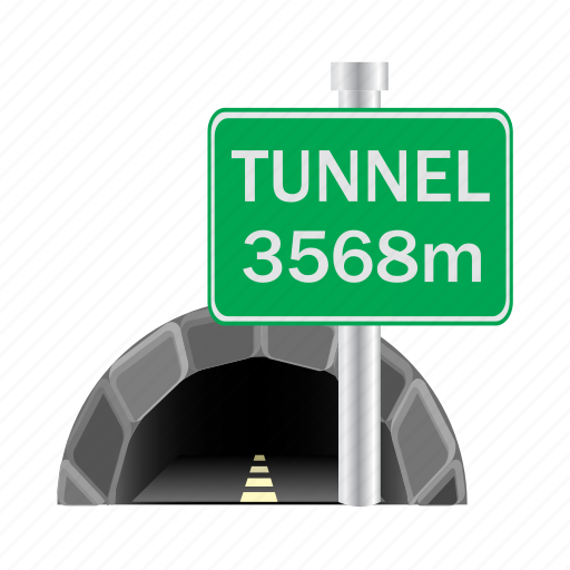 direction, hole, road, sign, tunnel icon