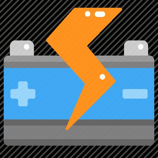 battery, car, electronics, power, starter, transportation icon