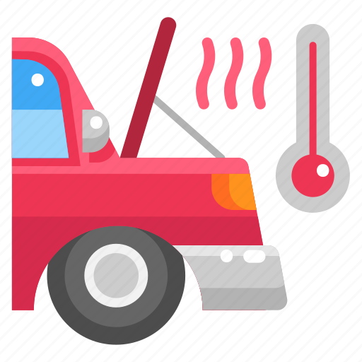 breakdown, car, heat, hot, temperature, thermometer, weather icon