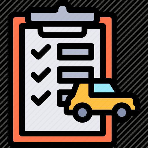 car, clipboard, repair, repairment, workshop icon