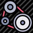 belt, car, engine, repair, repairment, workshop icon